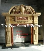 Impressive Heavily Carved Two Tone Marble Fireplace Mantel #3888