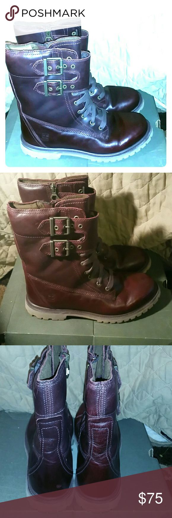 Burgundy Timbaland size 10 women's boots Barely worn, slight signs of wear Timberland Shoes