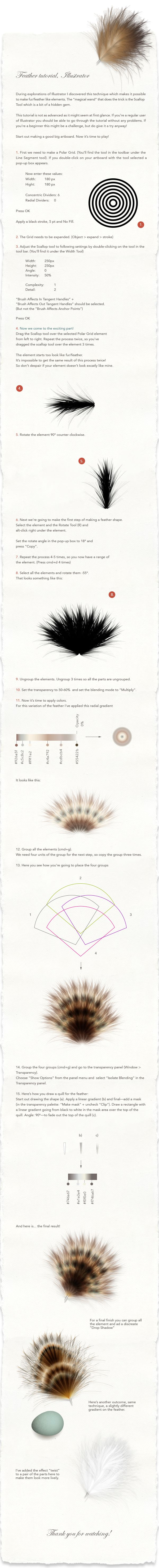 Feather Tutorial, Illustrator by Maria Grønlund, via Behance