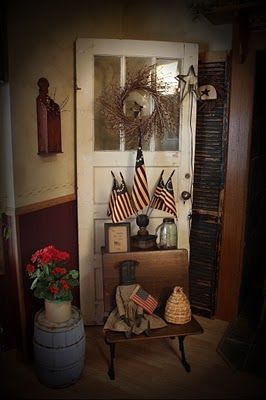 Old Primitive Door, Barrel & School Desk...with prim doll & flags.  Love it!