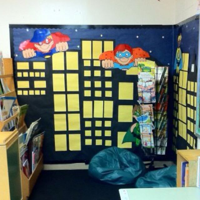 Make back of book shelves into buildingssuperhero themed class reading library i so want a super hero theme classroom