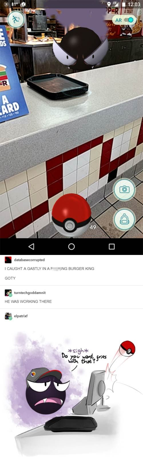 pokemon go funny gastly burger king