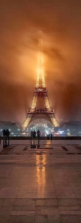 Foggy night ~ at the Eiffel Tower in Paris, France