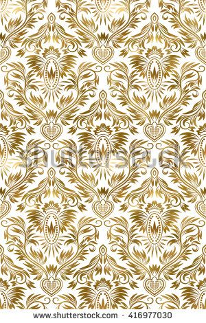 #Golden white #vintage #seamless #pattern. #Gold #royal #classic #baroque #wallpaper. Arabic background ornament.