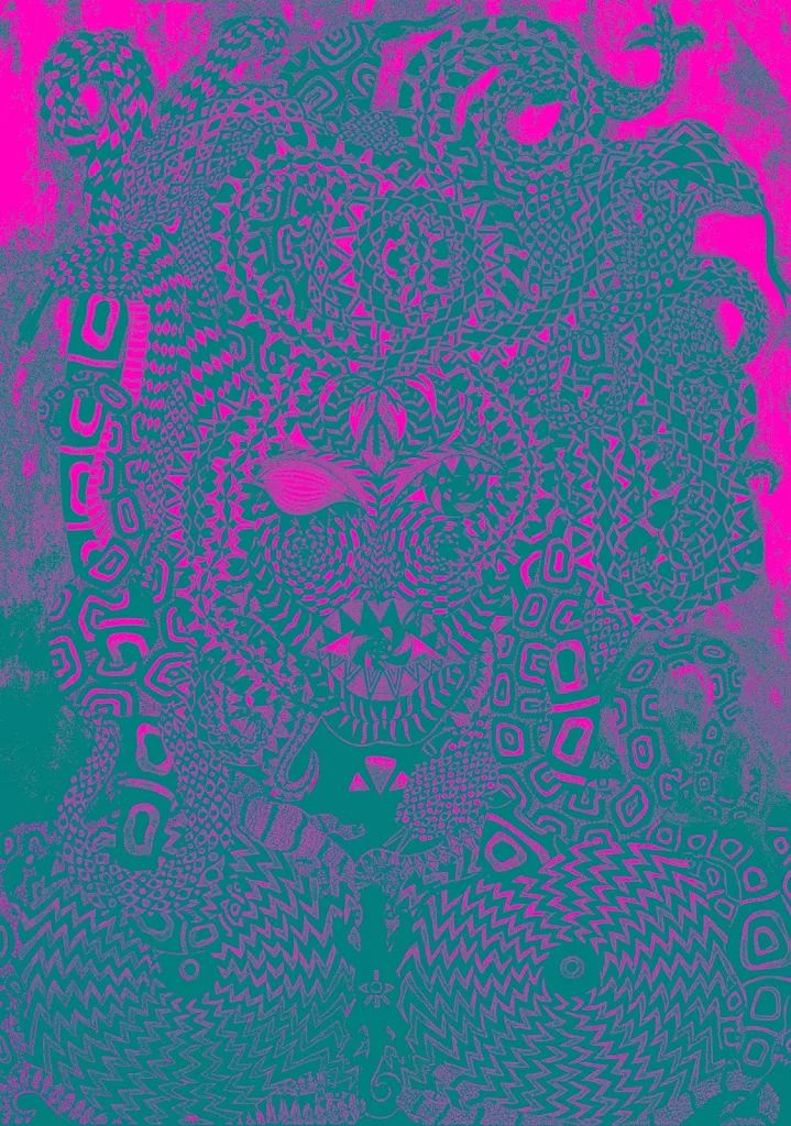 Gorgona Souboj Titanů perokresba černá tuš, zlatá tempera KOH-I-NOOR, formát A2 Autor. Johana Hájková upraveno http://www.internationalartgallery.org/en/johana-hajkova/gorgona/id/2104-2/
