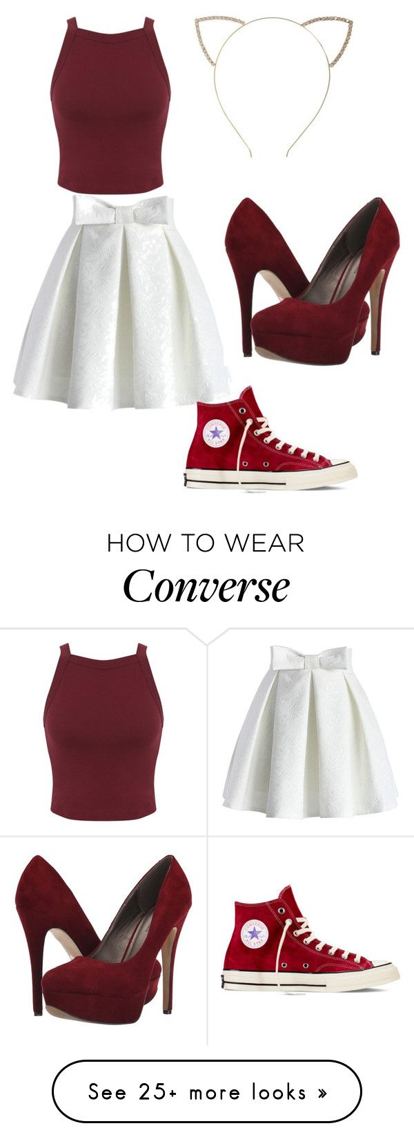"""Untitled #212"" by kyrapples on Polyvore featuring Cara, Chicwish, Miss Selfridge, Michael Antonio and Converse"