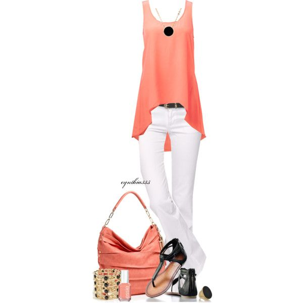 Spring OutfitCoral, Fashion, Summer Outfit, Style, Closets, Clothing, White Pants, White Jeans, Spring Outfits