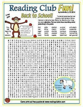 Back to School Adjectives Word Search Puzzle - Find and circle adjectives that describe how students might behave or feel as they start a new school year in this word search puzzle!