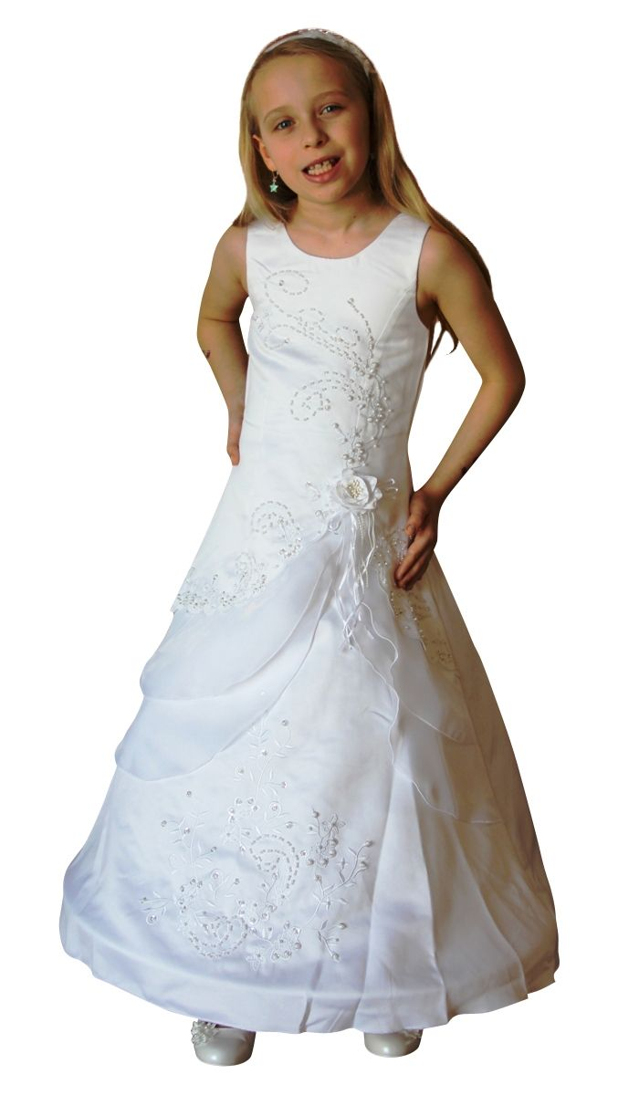neu BIMARO Kommunionkleid Linette Festkleid weiß lang mit Reifrock Farbe