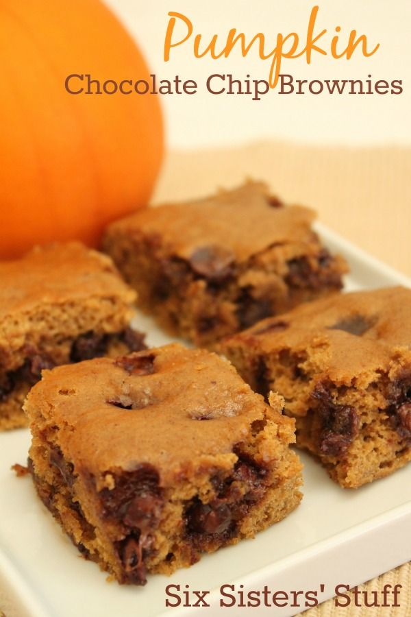Pumpkin Chocolate Chip Brownies are moist and delicious.  SixSistersStuff.com