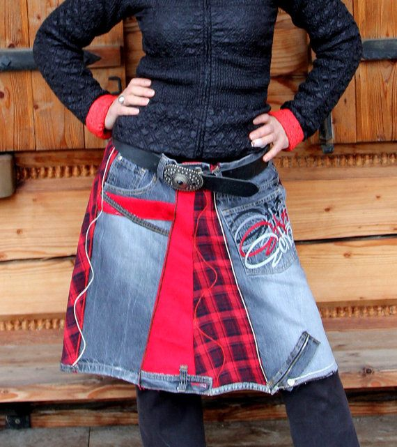 Patchwork recycled black denim and red grid skirt. Made from recycled clothing and new fabric, recycled denim jeans. Hips warmer, perfect with pants.