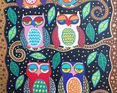 Kerri Ambrosino Art PRINT Mexican Folk Art Starry Night Owls Friends tree
