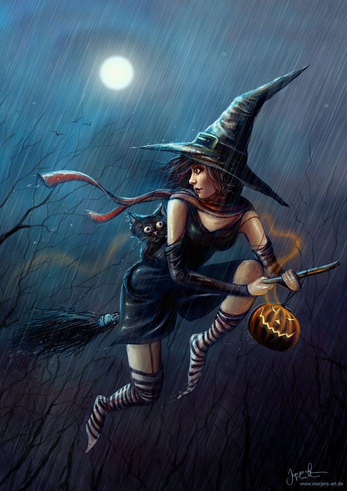 witches and cats deviant srt traditional paintings - Google Search