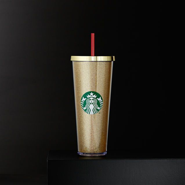 A Sturdy Venti Size Plastic Cold Cup Covered With Gold