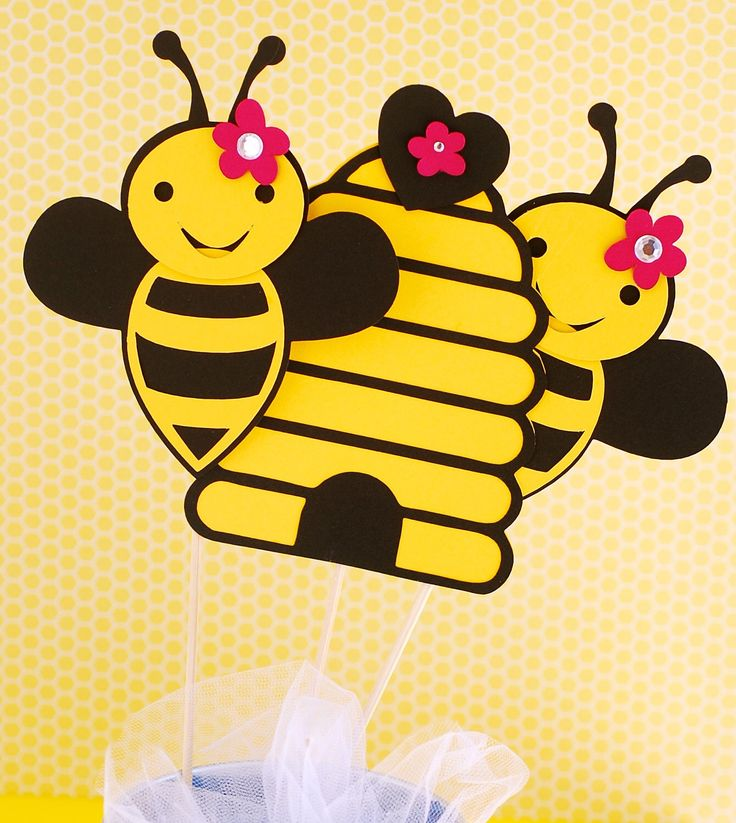 Bumble Bee Party Centerpiece 2 Bees and a Hive by prettypaperparty on Etsy https://www.etsy.com/listing/115023566/bumble-bee-party-centerpiece-2-bees-and