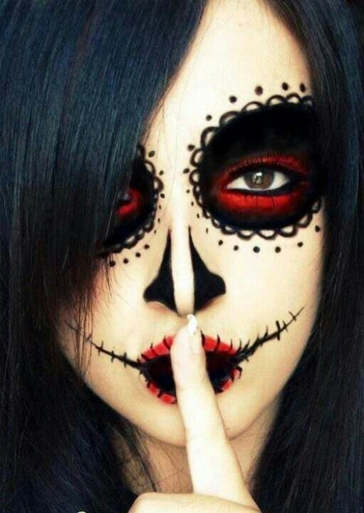 Halloween idea. Maybe put on white face paint under that to make it stand out more.