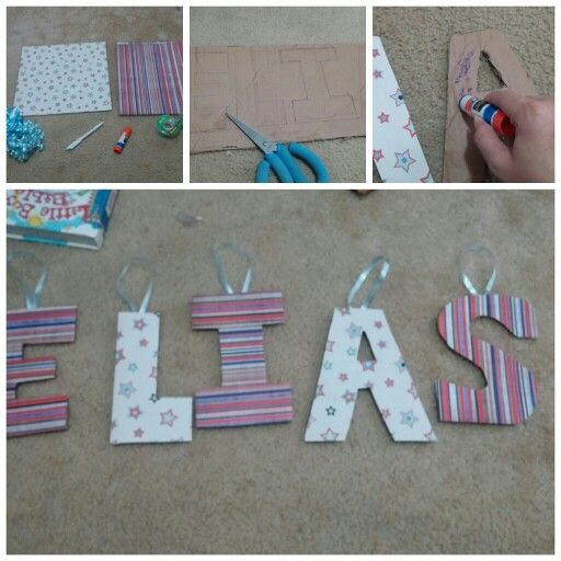 Diy wall letters using scrapbook paper and card board for 24 cardboard letters