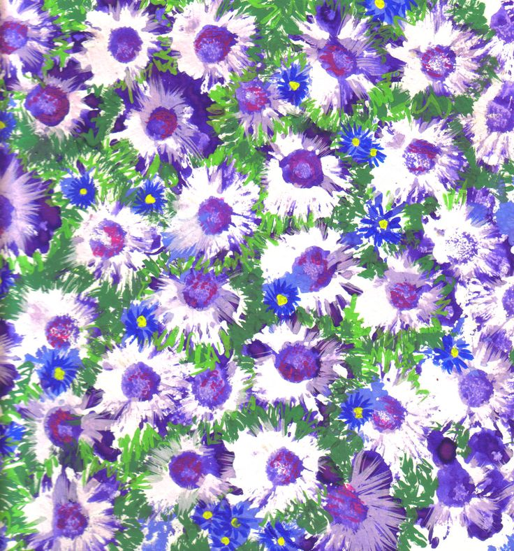 Daisy Floral Design for dress fabric.