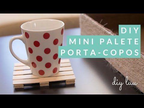 DIY Mini Palete porta-copos com pauzinhos de gelado | diyluu - YouTube