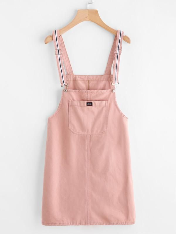 Pink Denim Pinafore Dress With Front Pocket
