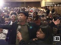 """On Thursday, a town hall meeting hosted by Al Sharpton and the National Action Network to address gun violence exploded into a revolt against """"Chicago Machine"""" politics, Mayor Rahm Emanuel, and the aldermen in City Hall, with panel and audience members calling to vote out their elected officials."""