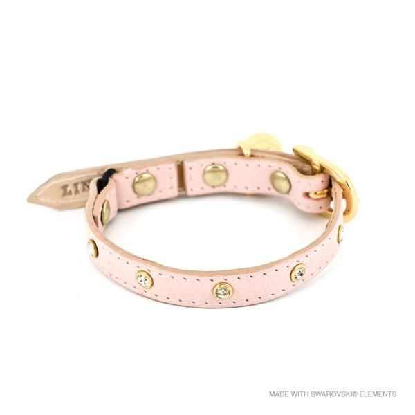 [product _vendor] Baby Pink Leather Cat Collar with Swarovski Cystals - STYLETAILS