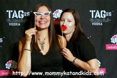 mommy kat and kids and mom vs. the boys at mabelbliss party blissdom canada 2011 with tag vodka
