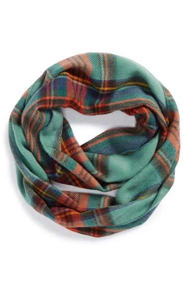 COLOR: IVORY David & Young Plaid Infinity Scarf (Juniors) available at #Nordstrom