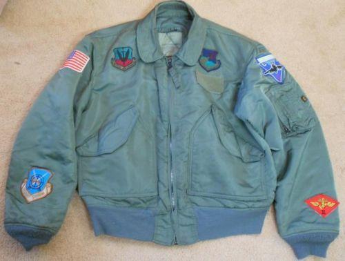 ~GENUINE USMC FLYER'S JACKET CWU 45/P SAGE LARGE ALPHA USA MARINE +EXTRA PATCHES 249.99 ebay