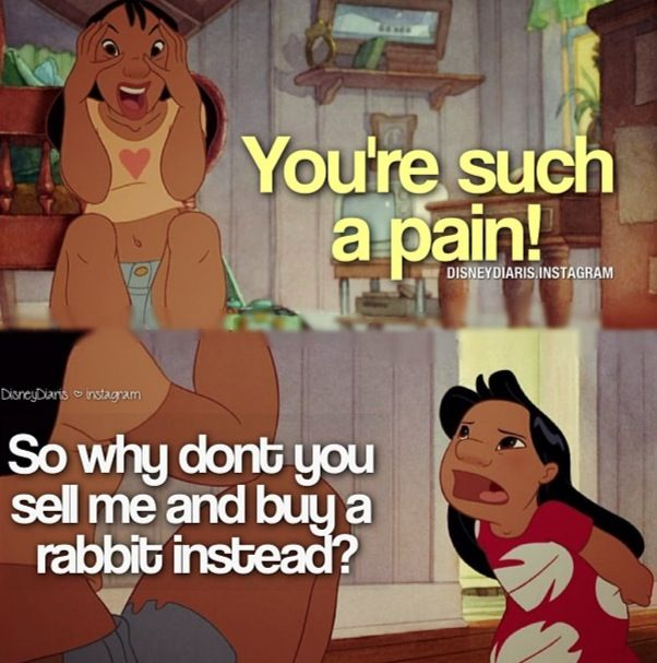 Lilo and Stitch! Pretty much every argument with that you will have with your siblings will resemble this one.