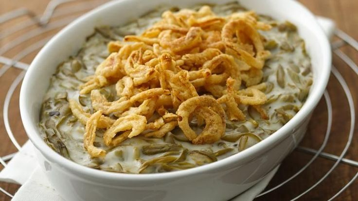 Who doesn't love classic green bean casserole with its creamy veggies and crunchy onion topping!