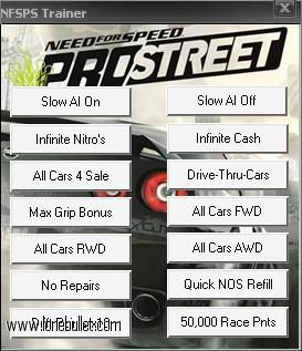 Get the Need For Speed Prostreet  14 Trainer for free download with a direct download link having resume support from LoneBullet - http://www.lonebullet.com/trainers/download-need-for-speed-prostreet-14-trainer-free-9312.htm - just search for Need For Speed Prostreet  14 Trainer Need for Speed ProStreet