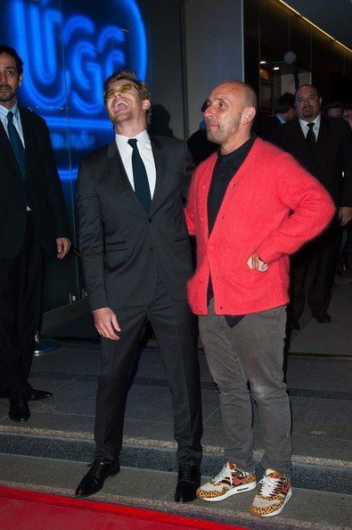 """Simon Baker and Director Dan Mazer attending the French premiere of """"I give it a Year"""""""