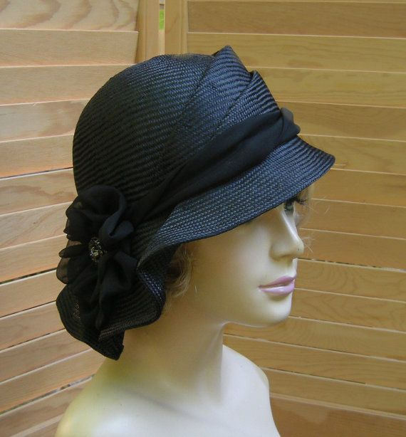 Sophia,  straw millinery hat, womens hand made cloche,  black straw hat