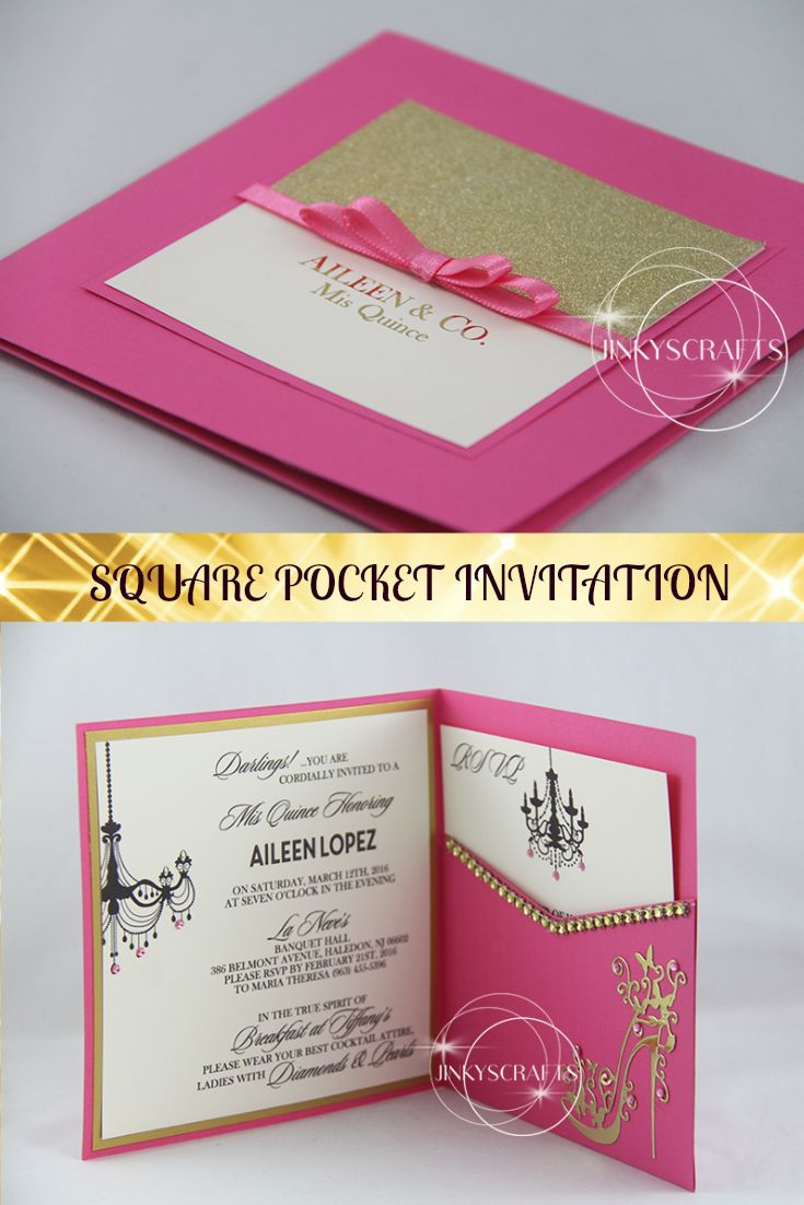 This Square Pocket Invitation/Custom Quinceanera Invitation/Sweet Sixteen  Invitation Is Perfect For A. Taschen Einladung35.