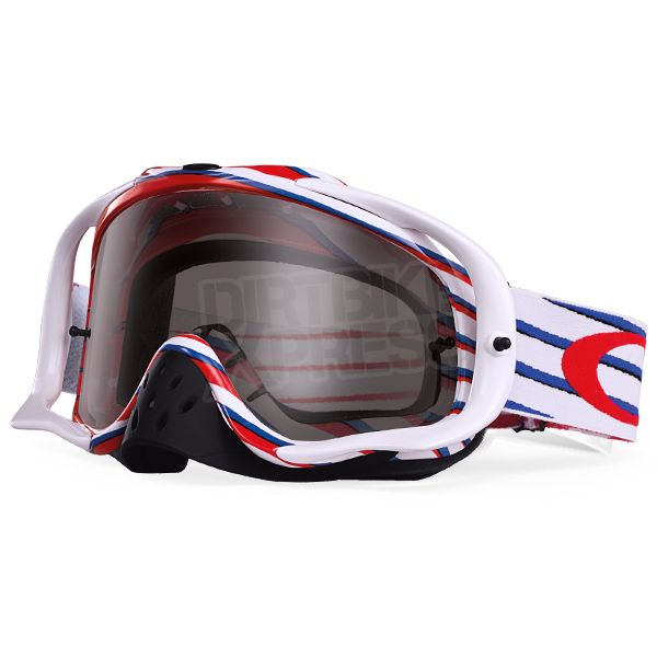 Oakley Crowbar Goggles in Nemesis Red White Blue Dark Grey part of the huge Motocross Goggle range at Dirtbikexpress.co.uk. Order online now for Free UK Delivery.