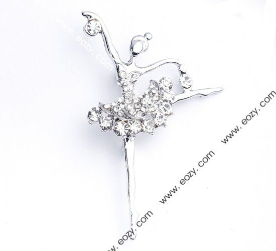 6.5x4cm White Figure Alloy Acrylic Diamond Fashion Modern   Brooch  #eozy