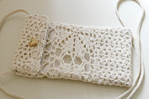 iPhone Cell Phone Pouch in Beige Crochet  This pouch is also available as a phone sleeve. Just convo me and let me know if you would prefer it