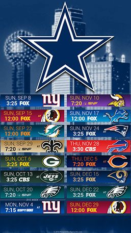 Dallas Cowboys 2019 Mobile City NFL Schedule Wallpaper