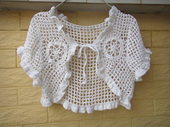 White Wedding Bridal Crochet Bolero Jacket Tie Front Ruffle Sleeve Vestido De Croche Para Crianca Croche Passo A Passo Aprender A Fazer Croche