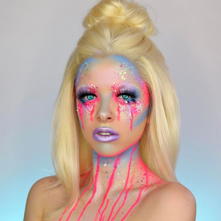"""2,442 Likes, 40 Comments - KIMBERLEYMARGARITACOLOURCREEP (@kimberleymargarita_) on Instagram: """"Drippy  Wanted to do a festival inspired look, should I do a tutorial on this one? Thanks to…"""""""