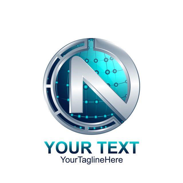 Initial Letter N Logo Template Colored Silver Blue Circle Sphere Business Symbols S Letter Logo Letter Logo Design
