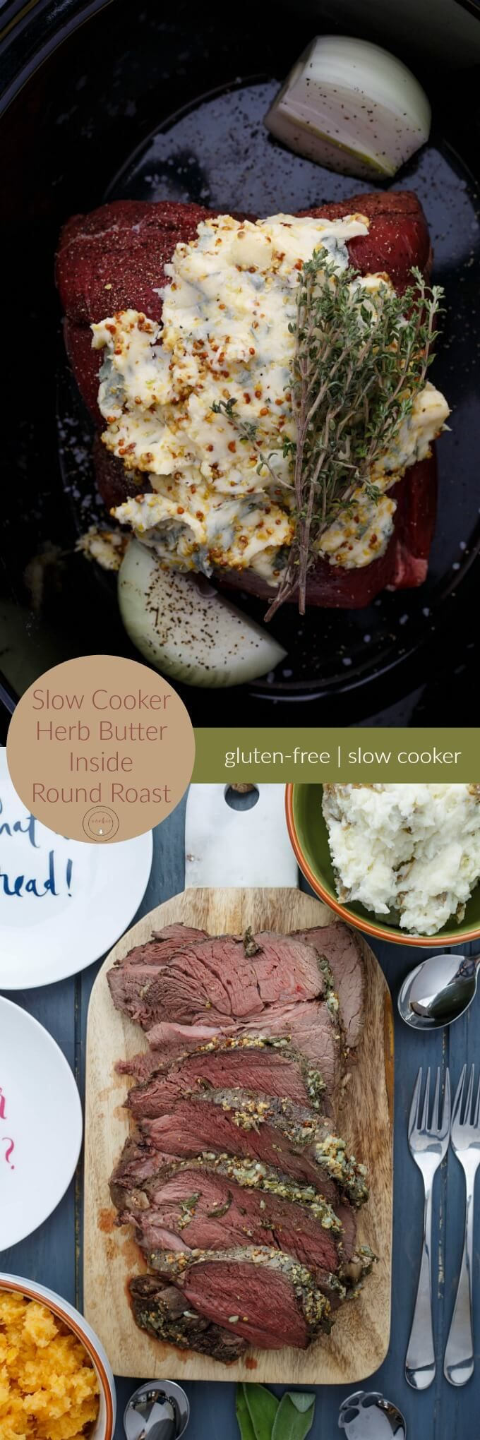 Slow Cooker Herb Butter Inside Round Roast   http://thecookiewriter.com   @thecookiewriter   Easy recipes can be hard to find, but this crock pot friendly meat recipe teaches you how to cook without much effort!