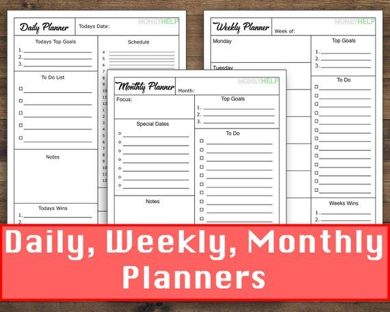 Daily Weekly Monthly Planner Template Printout This Minimalist