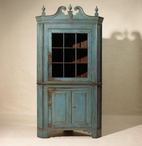 Early Blue Painted Corner Cupboard. Www.oldehope.com · Country FurniturePrimitive  ...