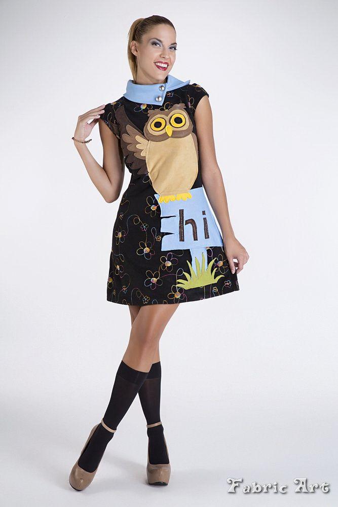 "Embroidery fleece dress with handmade applique ""Owl""."