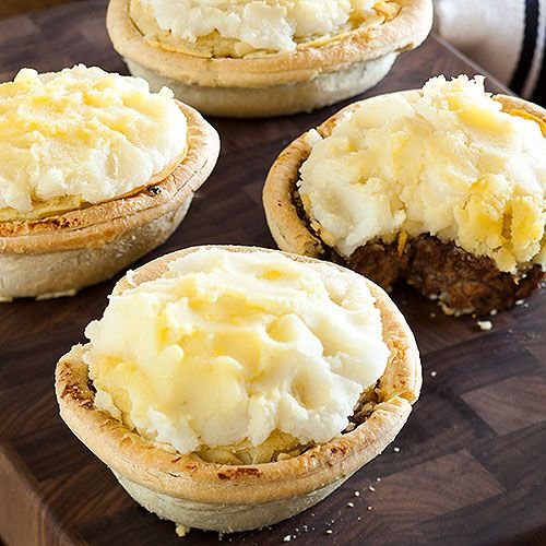 Cottage Pies The ubiquitous, Down-under comfort food, Cottage Pie, aka Savouries, are the beef version of the Shepherds' Pie. Made with ground beef and topped with creamy mashed potatoes, these mini versions are made from authentic New Zealand recipes and are ideal for cocktail parties or a holiday brunch.