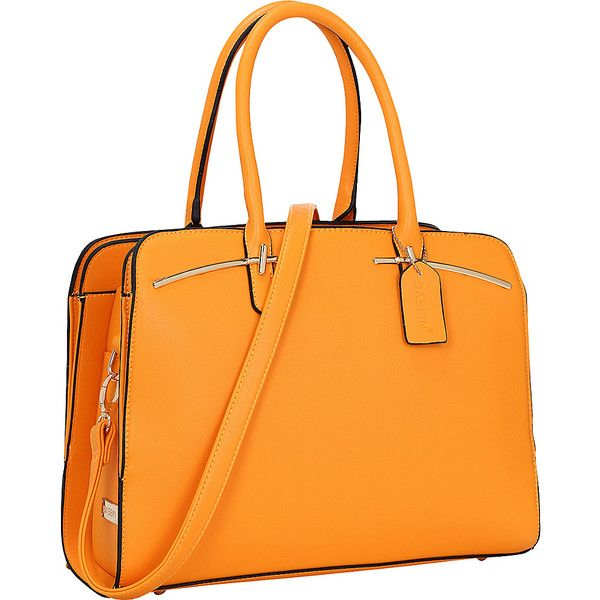 Dasein Faux Leather Double Magnetic Closure Satchel - Orange -... ($39) ❤ liked on Polyvore featuring bags, handbags, orange, faux leather purses, vegan purses, orange handbags, polka dot purse and satchel purses
