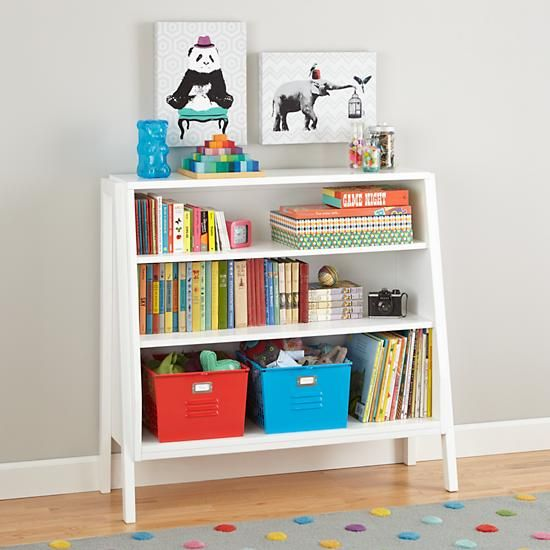 Graduated Wide Bookcase White The Land Of Nod 42 75 Wx15