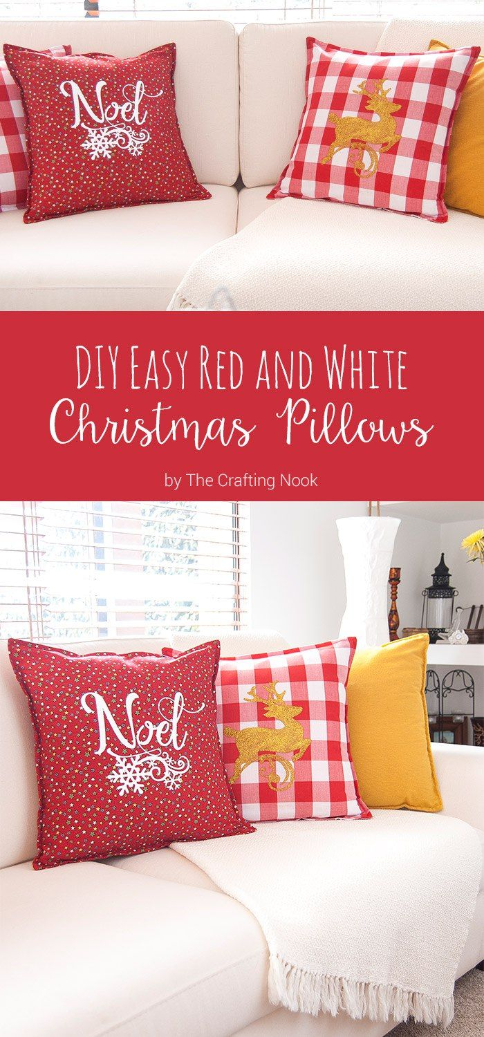 Amp occasions gt christmas alert occasions gt christmas decorations - Diy Easy Red And White Christmas Pillows Awesome Silhouette Giveaway